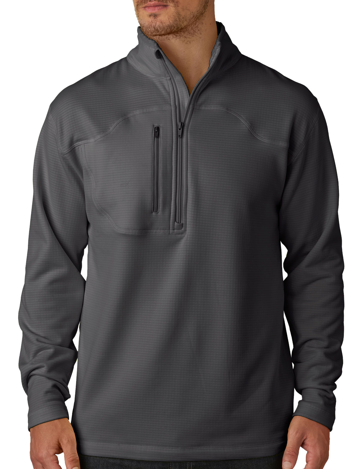 UltraClub® Adult Cool & Dry Box Jacquard 1/4-Zip Micro-Fleece