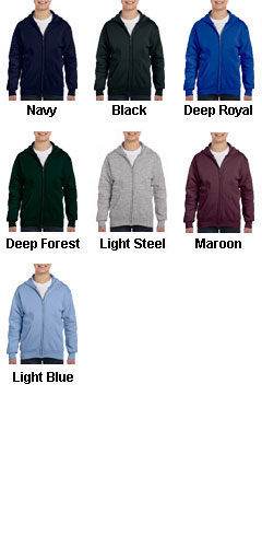 Hanes Youth EcoSmart® Full-Zip Hooded Sweatshirt - All Colors