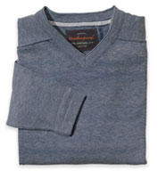 Custom Vintage Denim V-Neck Cotton Sweater