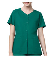 Womens Short Sleeve Snap Scrub Jacket by WonderWink®
