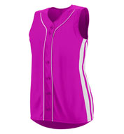 Ladies Faux Full Button Sleeveless Winner Jersey