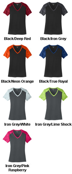 Ladies CamoHex Colorblock V-Neck Tee - All Colors