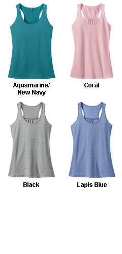 Ladies Mini Stripe Gathered Racerback Tank - All Colors