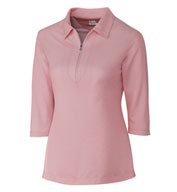 Custom Ladies Blaine Oxford 3/4 Sleeve Zip Polo