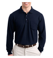 Custom Tall Silk Touch� Long Sleeve Polo With Pocket