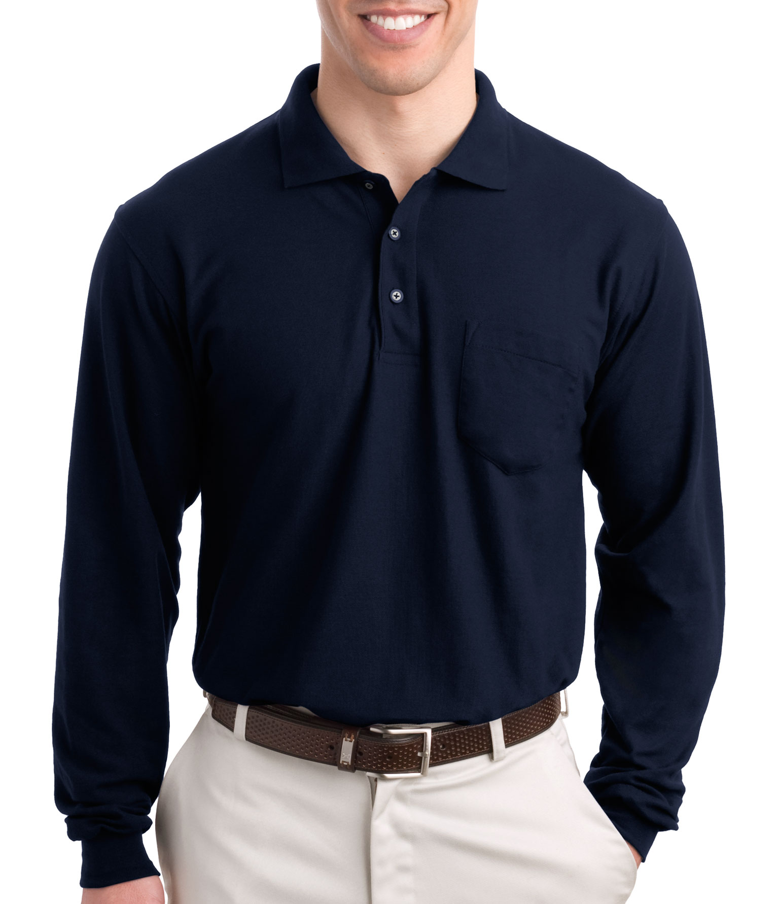 Tall Silk Touch� Long Sleeve Polo With Pocket