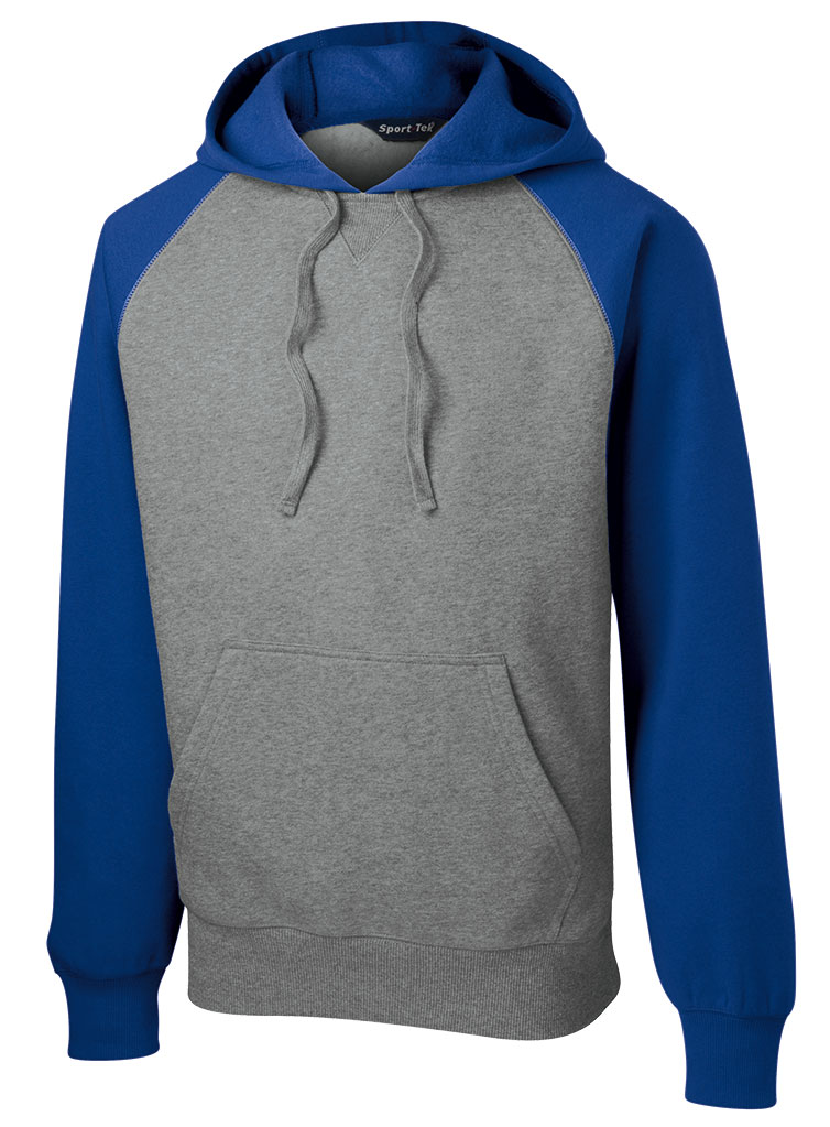 Raglan Colorblock Pullover Hooded Sweatshirt