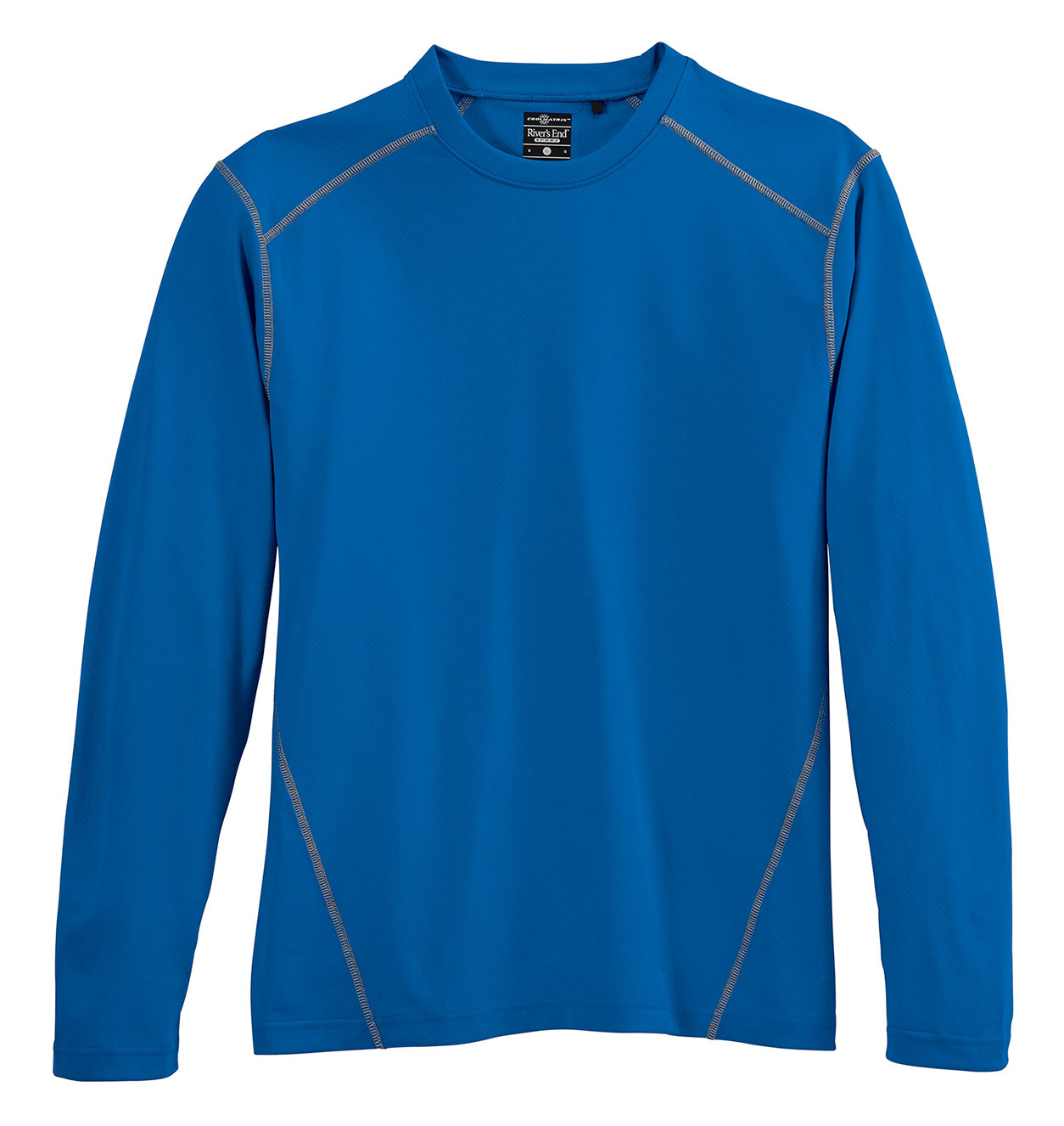 Mens Contrast Stitch Long Sleeve Crewneck Tee