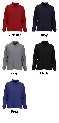 Womens Vansport™ Omega Long Sleeve Solid Mesh Tech Polo - All Colors