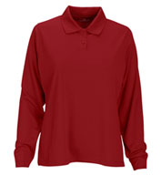 Custom Womens Vansport� Omega Long Sleeve Solid Mesh Tech Polo