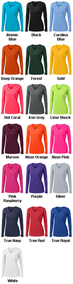 Ladies Long Sleeve PosiCharge� Competitor V-Neck Tee - All Colors
