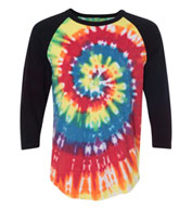 Custom Dyenomite Tie Dyed Three Quarter Sleeve Raglan T-Shirt