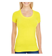Ladies Spandex Short-Sleeve Scoop Neck T-Shirt