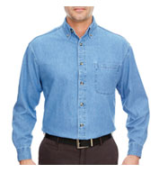 Custom UltraClub Mens Long Sleeve Denim Shirt
