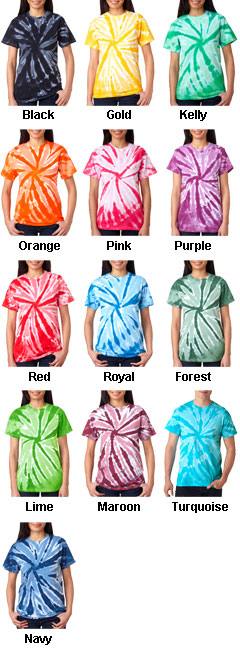 Adult Pinwheel Tie Dye T-shirts - All Colors