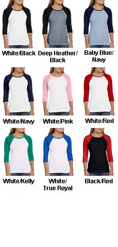 Bella Ladies 3/4 Sleeve Raglan Colorblock T-Shirt - All Colors