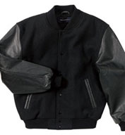 Custom Adult Classic Black On Black Leather and Wool Varsity Jacket Mens