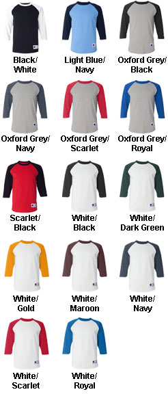 Champion 100% Cotton Raglan Sleeve Team Shirt 15-Colors! - All Colors